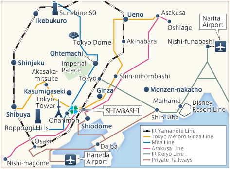 Tokyu Stay Shimbashi Access Map